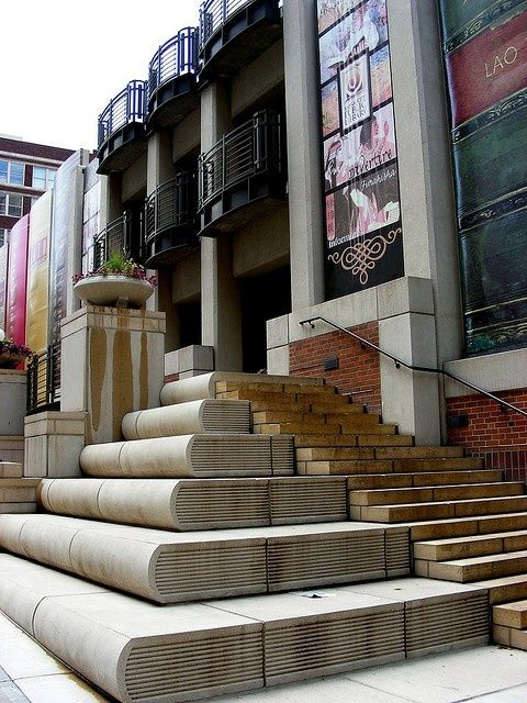 Kansas City Public Library's book steps.