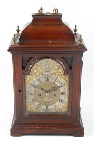 A good mid 18th century mahogany veneered twin fusee bracket clock of small proportions