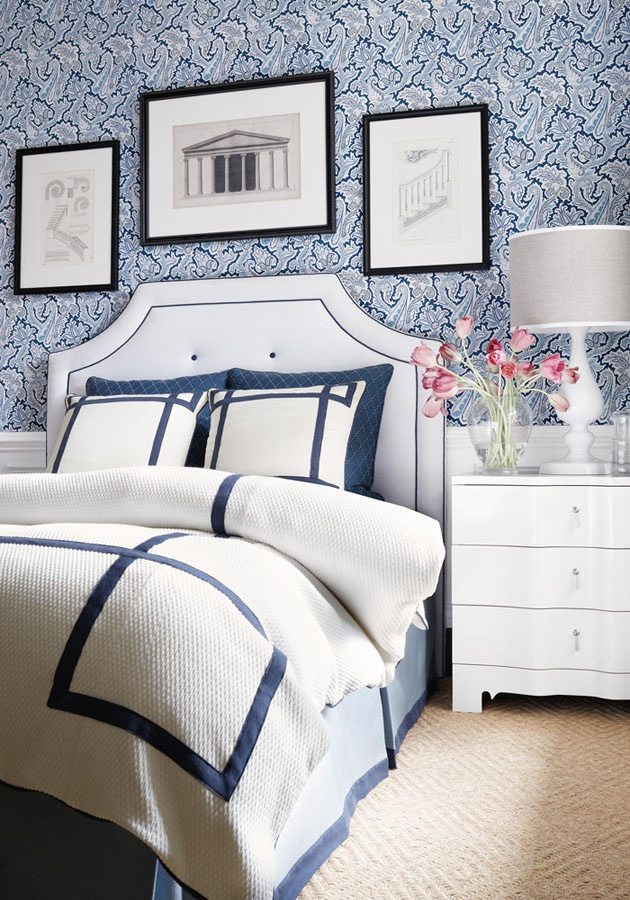Bedroom with thibaut winchester paisley wallpaper in navy for Beautifully decorated beds