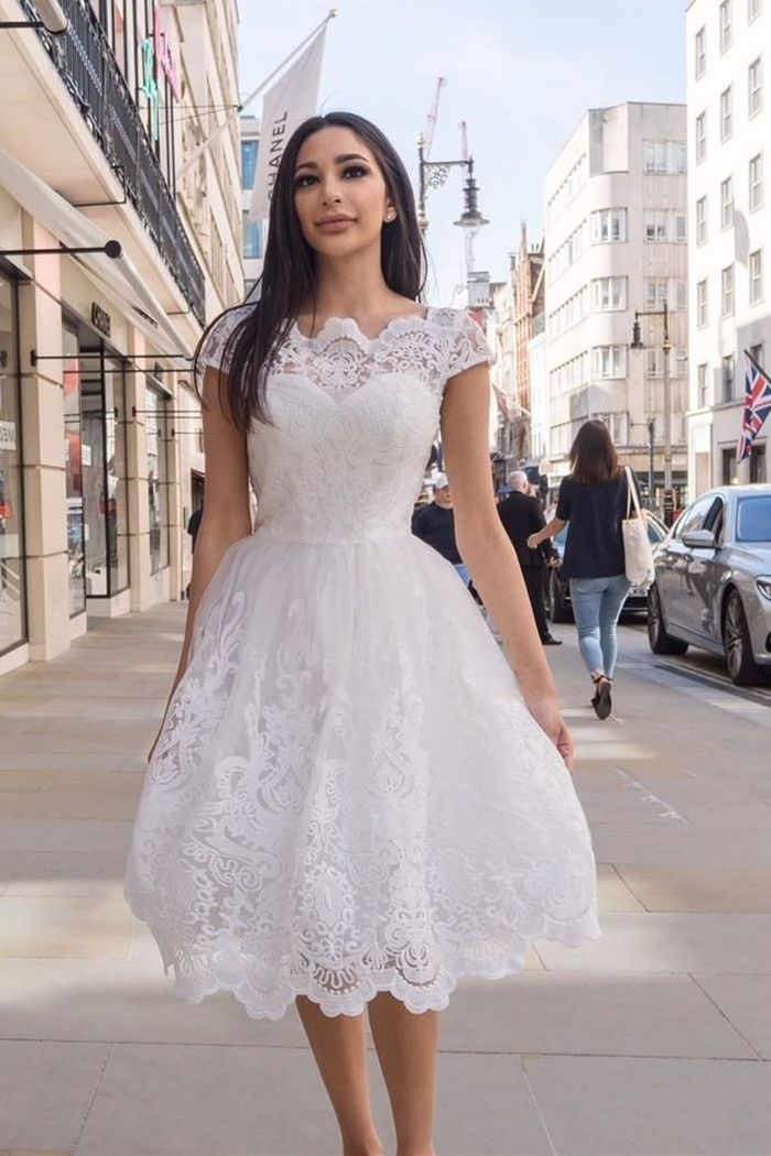 Elegant White Cap Sleeves Lace Short Prom Dresses Simple Semi Formal Party Gowns Confirmation Dresses Confirmation Dresses White Lace White Dress