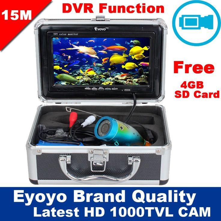 "140.44$  Buy here - http://ali3ai.worldwells.pw/go.php?t=32673598552 - ""Free Shipping!Eyoyo Original 15M 1000TVL HD CAM Professional Underwater Fishing Camera Fish Finder Video Recorder DVR 7"""" Monitor"""