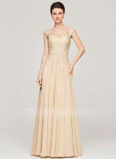 [€ 156.90] A-Linie/Princess-Linie V-Ausschnitt Bodenlang Chiffon Spitze Kleid für die Brautmutter (008062566)