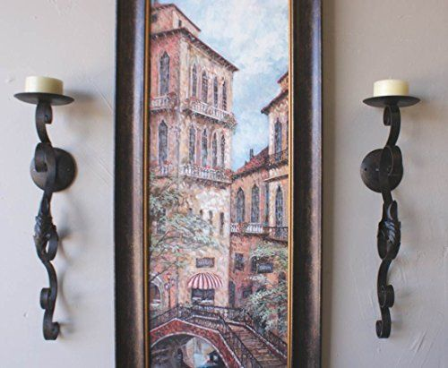 Tuscan Scrolling Acanthus Wrought Iron Wall Candle Sconce