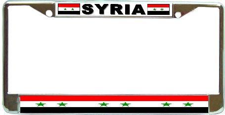 Syria Flag Metal License Plate Frame Holder Chrome by BlingSity, $18.95