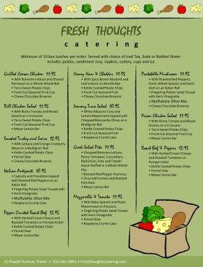 Customize Box Lunch Catering Menu