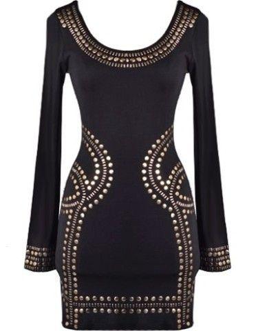 Studded Glory Dress | Long-Sleeve Bodycon Dresses |