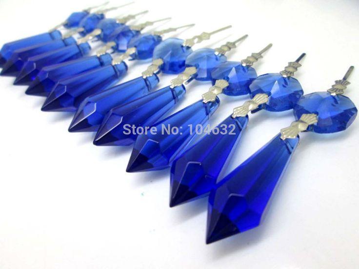 Hierkryst 30 шт./лот синие кристаллы люстра стеклянная лампа призмы части сосулька висит подвески 38 мм 1.49  # 1908 - 3