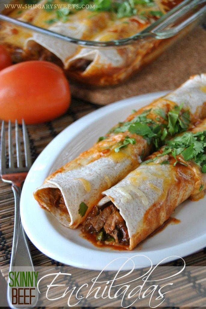 Skinny Slow Cooker Beef Enchiladas: a delicious dinner that makes a bonus meal: French Dip Sammies #slowcooker #enchiladas www.shugarysweets.com