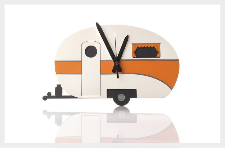 Caravan Clock by Ian Blackwell for the man who enjoys exploring or loves a little retro. Available in orange, blue or pink. Hand-painted with chrome trim. $95 from Texan Art Schools at Shore City