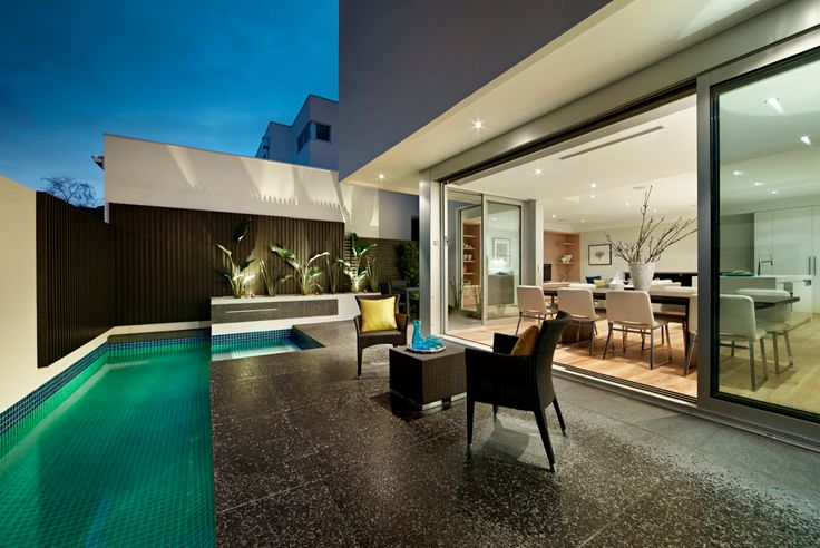 outdoor courtyard with pool
