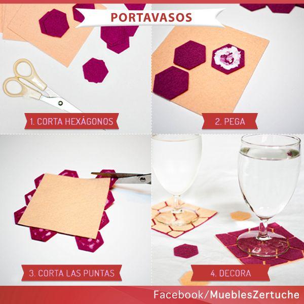 Crea tus propios portavasos, con materiales que tengas en casa.   #HazloTuMismo #DIY #Portavasos