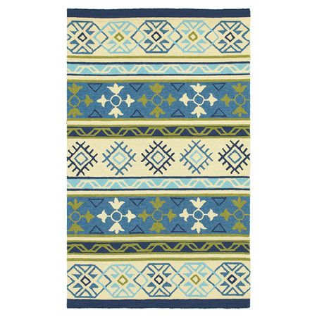 Showcasing a multicolored Southwestern-inspired motif, this hand-hooked indoor/outdoor rug effortlessly anchors your living room seating group or dining set....