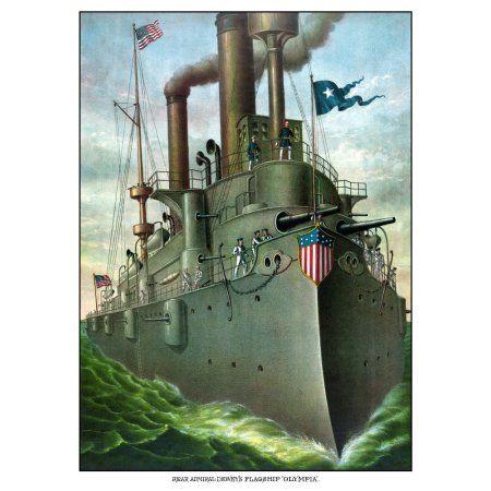 Vintage American History print of Admiral George Dewey standing on his flagship Canvas Art - John ParrotStocktrek Images (12 x 17)