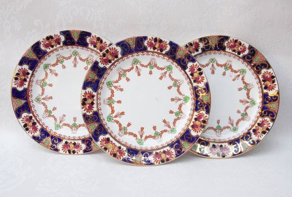 Perfect excuse for cake ... Cake Plates, China Plates, Set of Three, Side Plate Set, Doric China Co., Art Deco - 1920s / 1930s by CupfulofTrinkets, £10