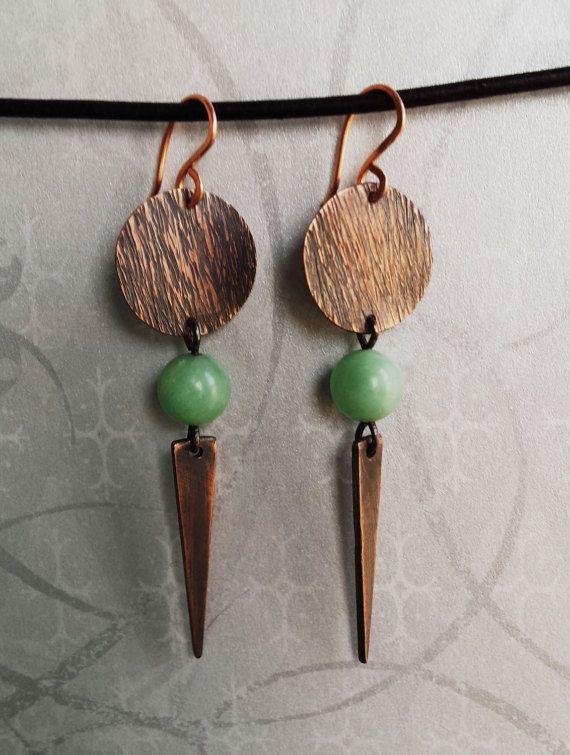 Cute turquoise blue earrings copper or brass