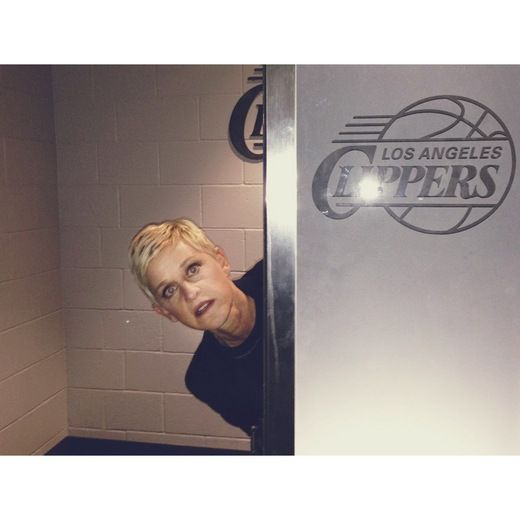 Ellen snuck into the Clippers' bathroom while at the Grammys