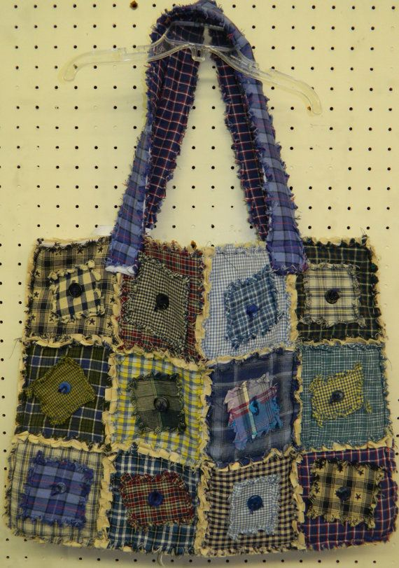 Blues & Greens Homespun Rag Quilted Tote Bag 38E by GrammysShop, $35.00