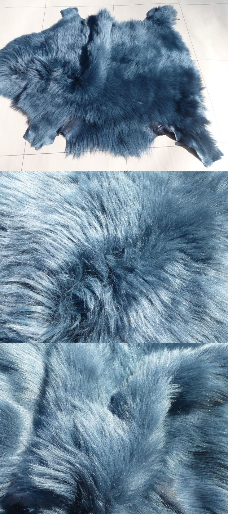 Leather Hides and Fur Pelts 83938: Sheepskin Shearling Leather Hide Dark Steel Blue Toscana Silky Haired -> BUY IT NOW ONLY: $35.99 on eBay!