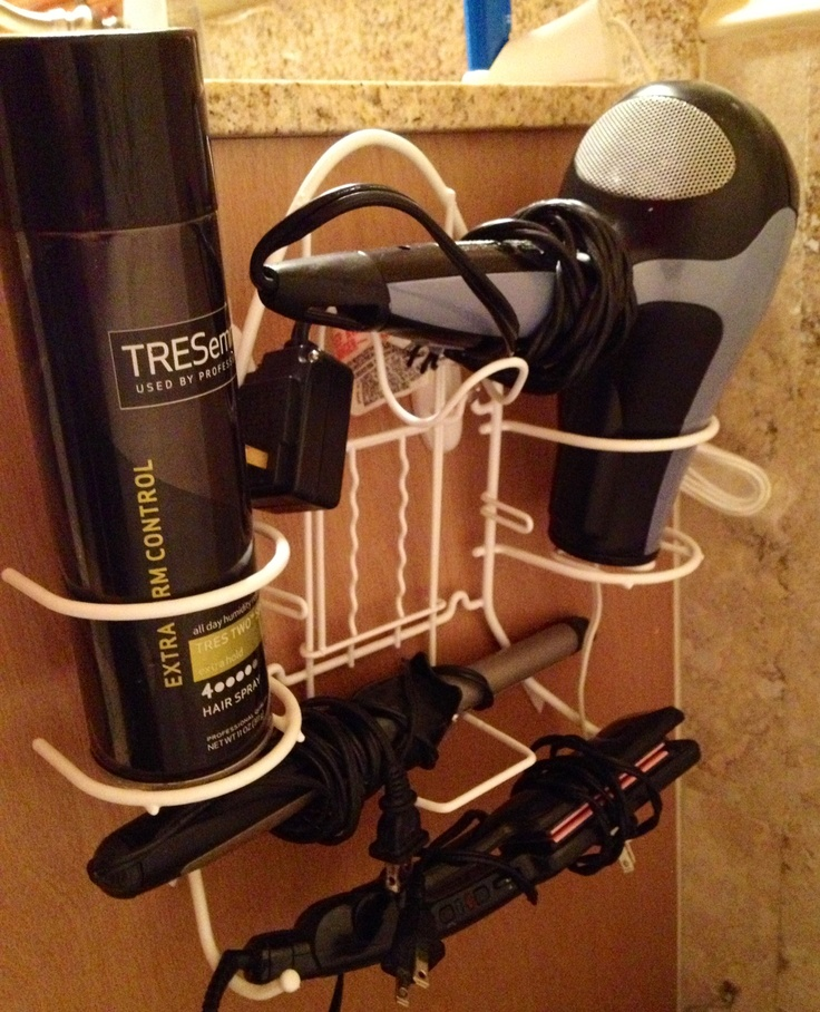 Use an ironing board/iron holder to organize and store your hair appliances. Use 2 command hooks to hold it. Mine has been hanging for almost 2 years with no problem. Very convenient!