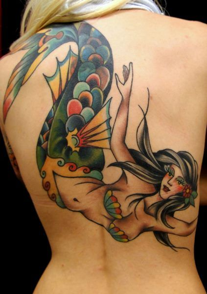 tattoo old school / traditional ink - mermaid (by Juan Manuel Piranha Sancho)