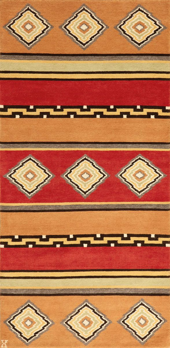 LW11B, pumpkin/rust – Southwestern rugs, Luxury Lodge comes to life in this imaginative collection. Traditions of the past meet modern needs for quality, beauty and comfort in these unique and timeless designs inspired by Native American motifs from the American Southwest. Soft pile weave replaces the traditional flat weave of typical Navajo-inspired carpets, resulting in luxuriously soft, superior quality hand-woven rugs.