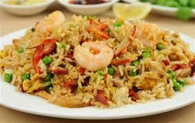 Medasia special fried rice Prawns, chicken, ginger, oyster mushrooms, chillies, egg, spring onions, peanuts, garlic, seaweed, beans-sprouts & coriander