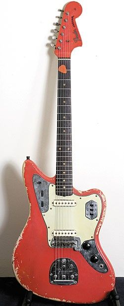 John Frusciante Collection's - This 1962 Fender Jaguar in Fiesta Red is the guitar Frusicante has owned longer than any other.  www.vintageandrare.com