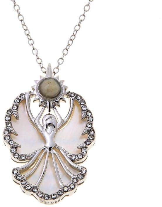"""Michael Anthony Jewelry Nativity Stone and Mother-of-Pearl """"Angel"""" Pendant with Chain. Angel of God. Angels protect us."""