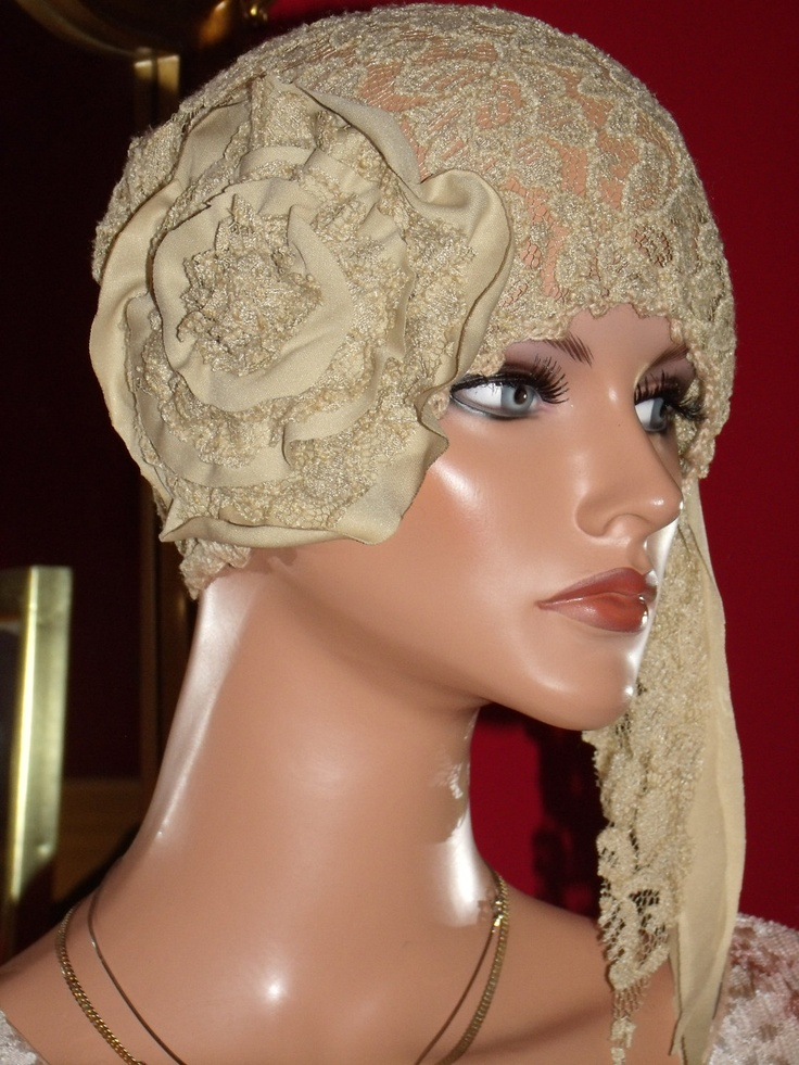 Hat Flapper Hat Cloche Tan Millinery Floral 1920 style. $49.99, via Etsy.