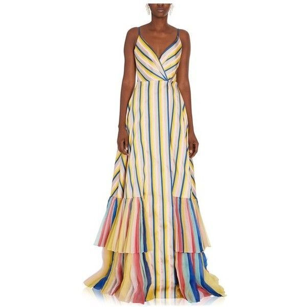 Carolina Herrera Striped Ball Gown ($6,990) ❤ liked on Polyvore featuring dresses, gowns, stripe, striped wrap dress, carolina herrera gowns, striped dresses, stripe dress and v neck dress