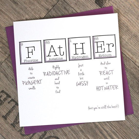Father's Day Periodic Table  Birthday  Fun  by ThePaperScientist