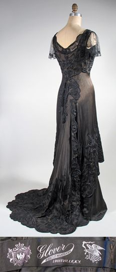 vintage Edwardian dress: silk with Chinese embroidery 1910