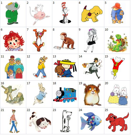 can you name the popular children's book characters shown below? Cute idea for a contest