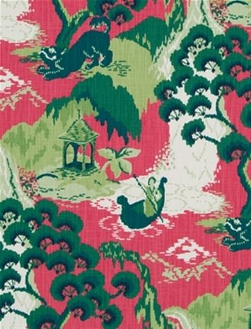 Road to Canton Strawberry -  Transitional Chinoiserie fabric print from Madcap Cottage collection. Great for chair fabric, upholstery fabric or drapery curtain fabric.