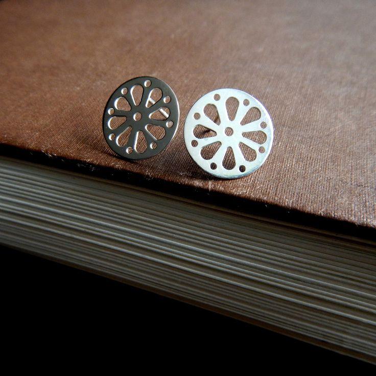 Rosette - silver stud earrings - kropinska.pl