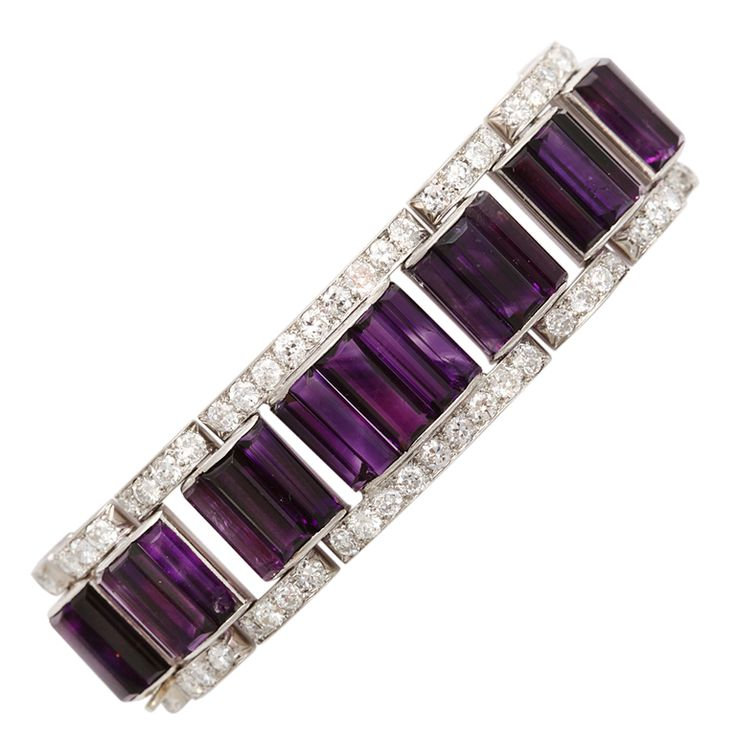 Matched Siberian amethyst and diamond bracelet mounted in platinum.    American, ca. 1930
