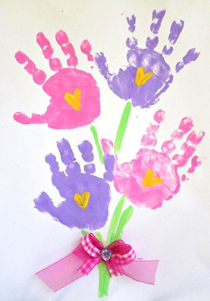 Handprint flower bouquet for Mother's day or spring! (kids craft)