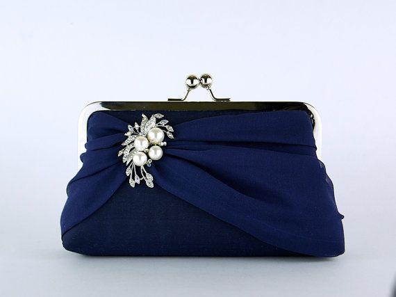 Silk Chiffon Clutch with Brooch, Wedding clutch, Wedding bag, Bridal clutch, Purse for wedding