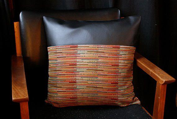 bohemian pillow cover boho faux leather jungalow