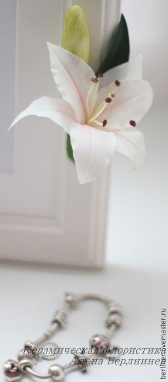 Купить Переплетение лилий - лилии, лилия, Холодный фарфор, полимерная глина, рамочка для фото