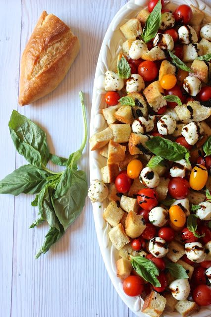 Caprese Panzanella One of my all time favorite eats!!! I can't wait for my garden to start growing! #can'twaitforsummer