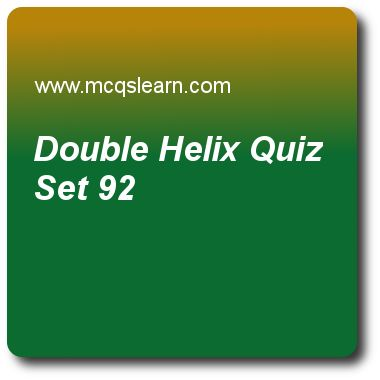 Double Helix Quizzes:  MCAT Quiz 92 Questions and Answers - Practice double helix quiz with answers. Practice MCQs to test knowledge on, double helix, mechanism of transcription, genetic drift, ribozymes and spliceo, telomeres and centromeres quizzes. Online double helix worksheets has study guide as phenomenon in which h bonds pair bases of nucleotides in one chain to complementary bases in other is called, answer key with answers as pairing, sugar pairing, base pairing and phosphate ..
