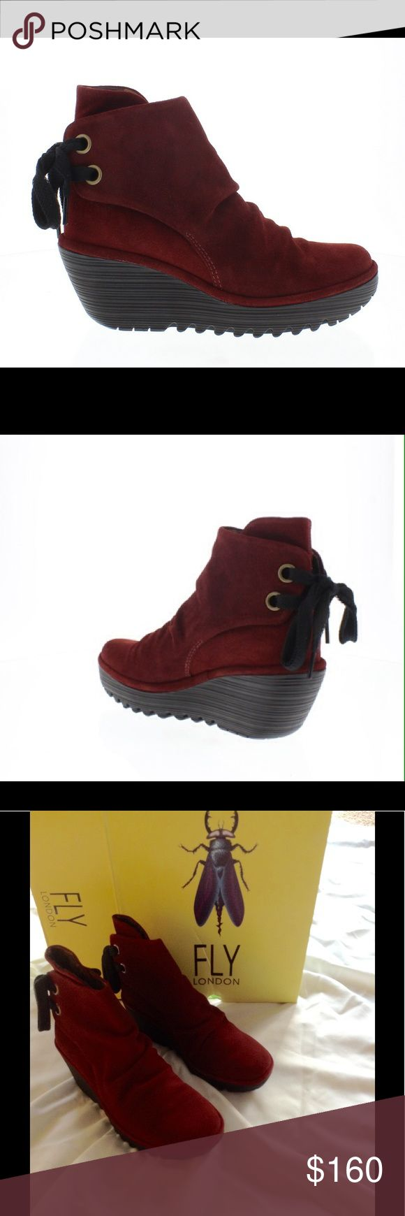 SALE! Fly London Yama Boots Oil Suede Wine Red 38 Brand new with box red suede boots with cute tie in back. Fly London Shoes Ankle Boots & Booties
