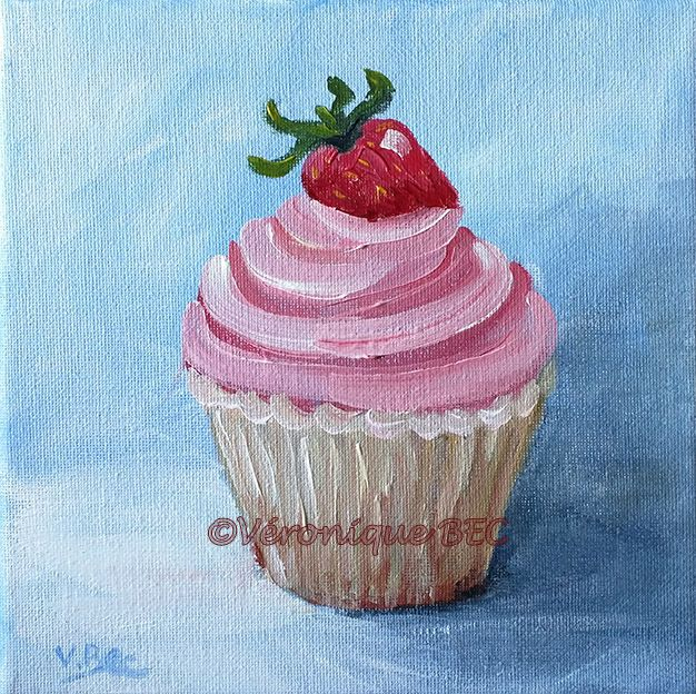 Cupcake for Nath birthday. Acrylic painting on canvas. Acrylique sur toile 20x20cm. Véronique BEC daily painting. Veroniquebec.com