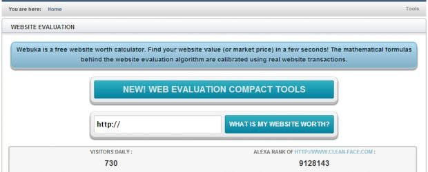 WEBSITE EVALUATION  Webuka is a free website worth calculator. Find your website value (or market price) in a few seconds! The mathematical ...