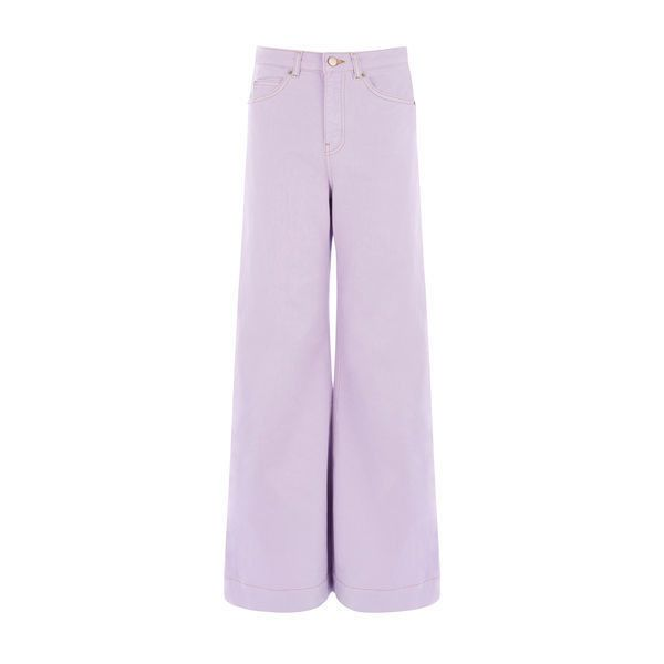 Warehouse Warehouse Super Wide Cut Jeans Size 25W 30L ($76) ❤ liked on Polyvore featuring jeans, lilac, denim jeans, lilac jeans, purple jeans, warehouse jeans and purple denim jeans