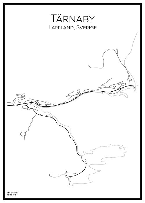 Tärnaby. Lappland. Sverige. Map. City print. Print. Affisch. Tavla. Tryck. Stadskarta.