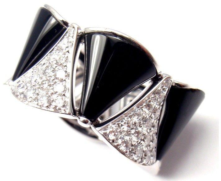 bulgari diva dream 18k white gold diamond onyx ring