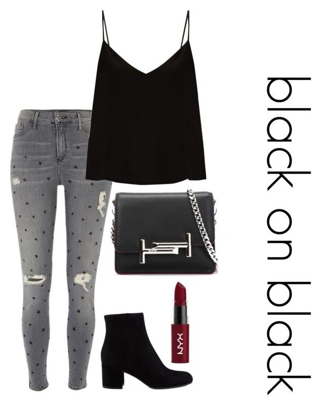 """""""black"""" by roselie1405x on Polyvore featuring River Island, Raey, Gianvito Rossi, Tod's and NYX"""