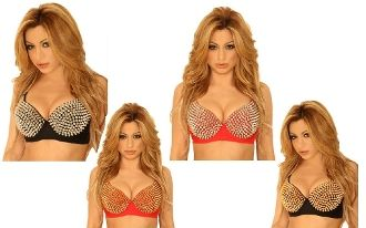 Spiked Bra Top choose colors top sellering #ladybiker #bras and #sexybartender apparel ANYWHERE!